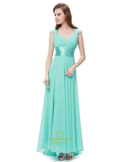 Mint Green Chiffon Sweetheart Bridesmaid Dresses With Cap