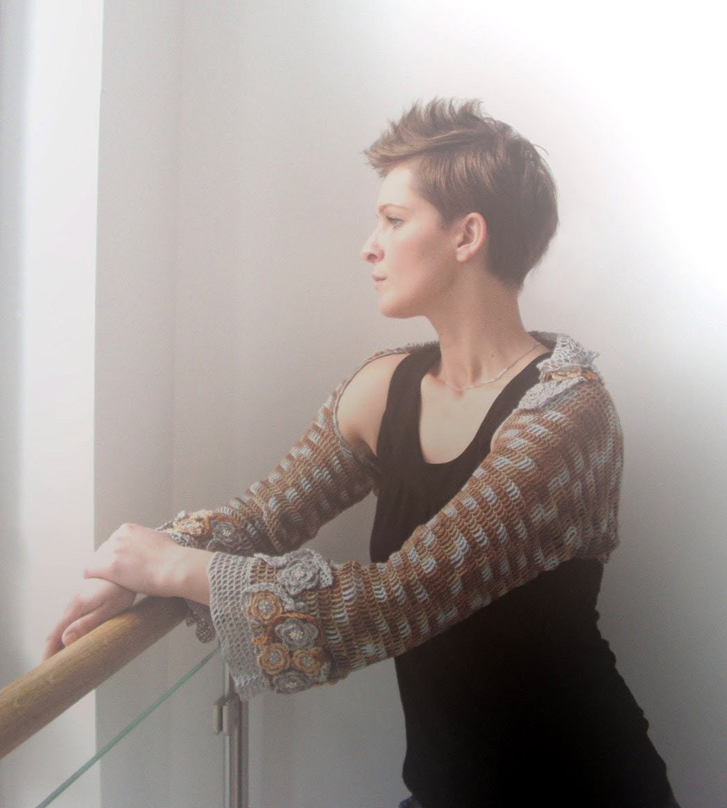 Magical Garden With A Little Sepia - crocheted decorated shrug bolero with 3/4 length sleeves