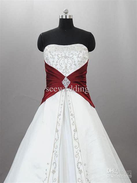 Discount Custom 2015 Burgundy And White Wedding Dresses