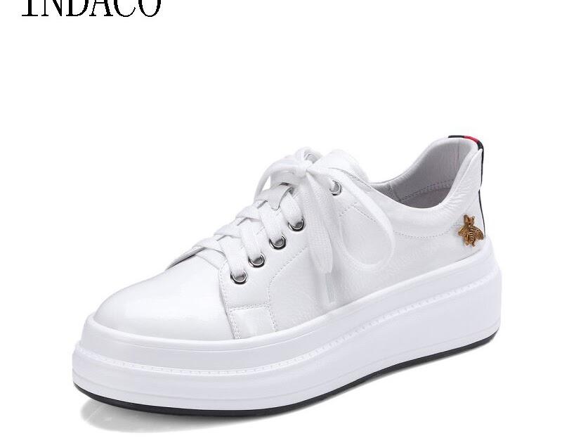 Offerte INDACO 2019 Delle Donne Scarpe Da Ginnastica In Pelle Bianche Donna  Di Moda 34 40 Economici Prezzo Online  c0df9840cce