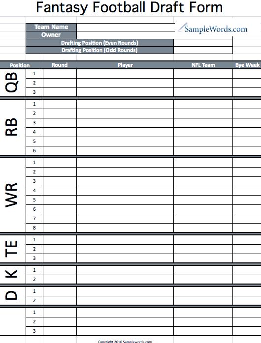 Blank Draft Sheet For Fantasy Football   White Gold