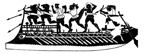 Galley showing deck and superstructure. About 600 B.C. From an Etruscan imitation of a Greek vase.