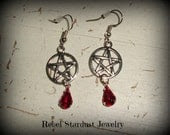 Handmade earrings with a pentagram and a coloured rhinestone - RebelStardustJewelry