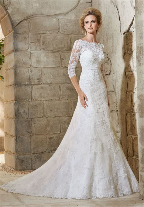 Mori Lee Bridal Allover Alencon Lace Dress   Style 2776