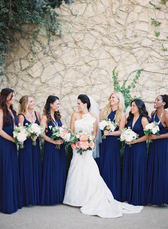 nicht übereinstimmende dunkelblau Brautjungfern Kleider sind pure Eleganz