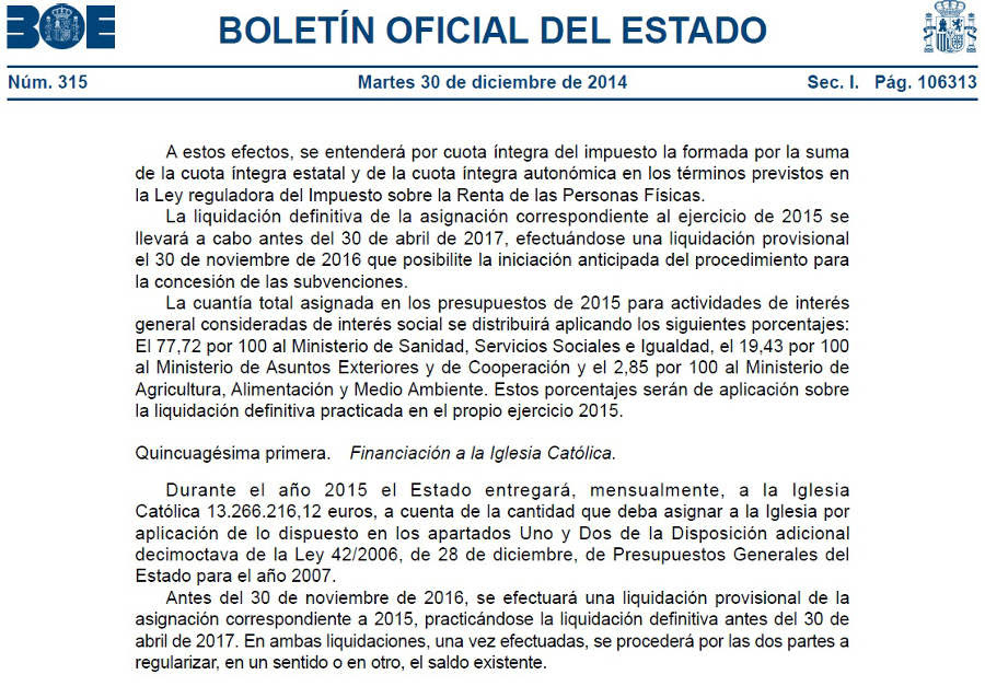 BOE Financiación Iglesia Católica Presupuestos Generales 2015
