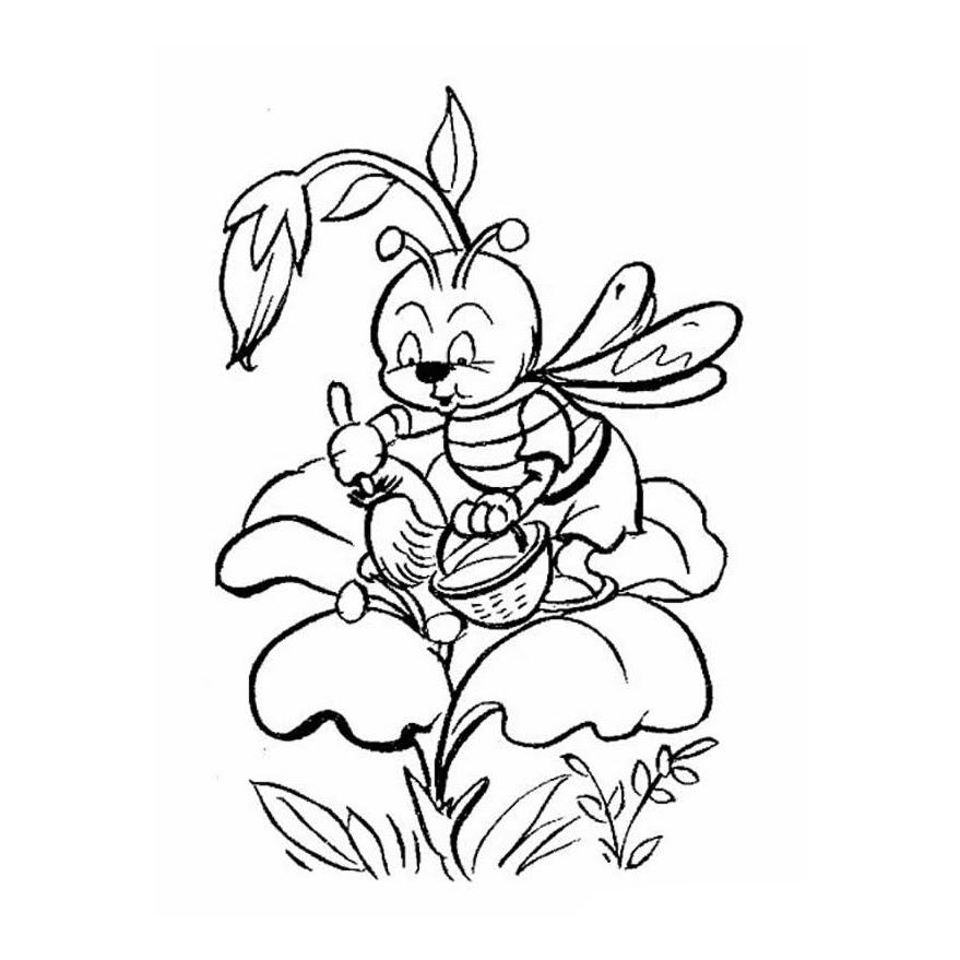 Dibujos De Flor Con Abeja Para Colorear
