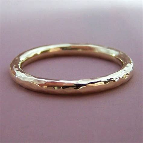 2 mm Round Hand Hammered Wedding Ring in 14k Rose or 14k