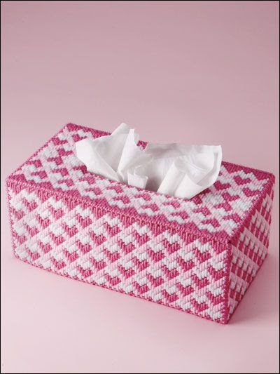 Plastic canvas Long-stitched tissue box cover from e-patterns central.com