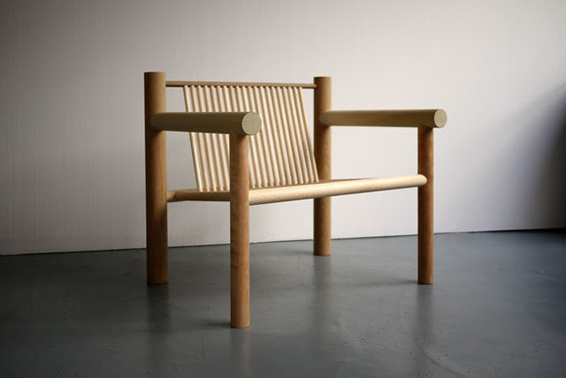 010 The 'Woodware' collection by Max Lamb is made from dowel rods of may different wood types, including beech, oak, cherry, walnut, maple and ash