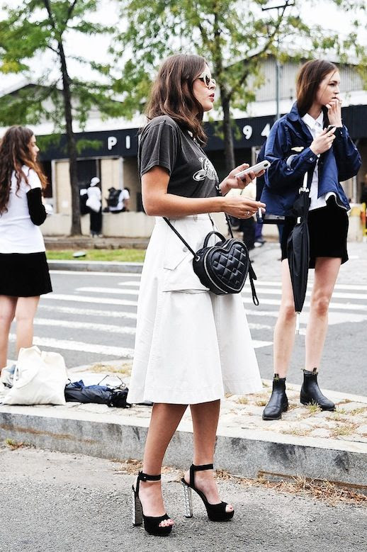 Le Fashion Blog Street Style Grey Vintage Band Tee White Full Midi Skirt Black Platform Sandals With Embellished Heels Nyfw Via Popsugar