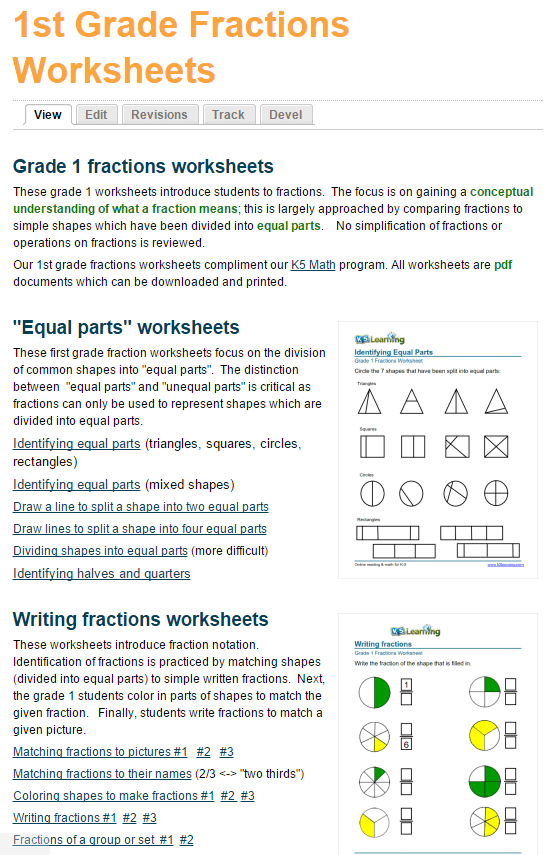 New First Grade Fractions Worksheets