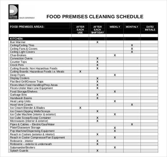 Cleaning Schedule Template - 33+ Free Word, Excel, PDF Documents ...