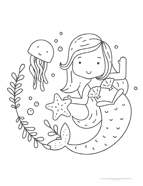 Printable Mermaid Cute Coloring Pages For Girls