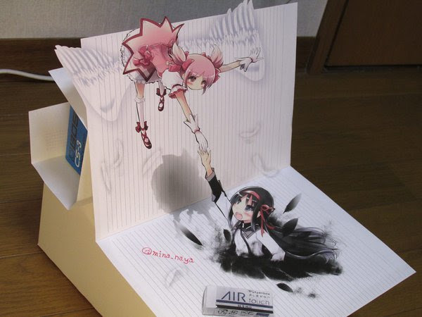 魔法少女まどかマギカまどかとほむらを描いた3dアートが立体的で凄い