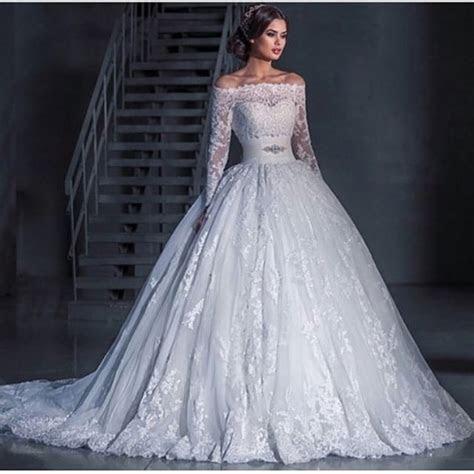Boat Neck Long Sleeve Wedding Dresses 2016 Elegant Beaded