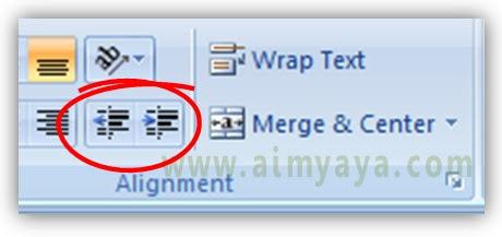 Gambar: tombol increase indent dan decrease indent di ribbon Home microsoft excel