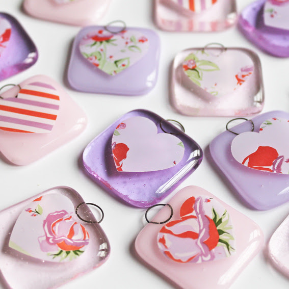 5 Glass Decorations Wedding Favours pink an Folksy