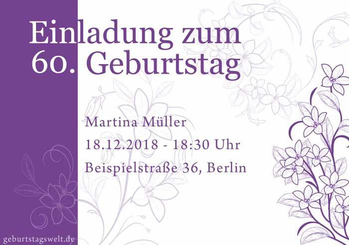 Einladung Zum 60 Geburtstag Gratis Einladungskarten Texte