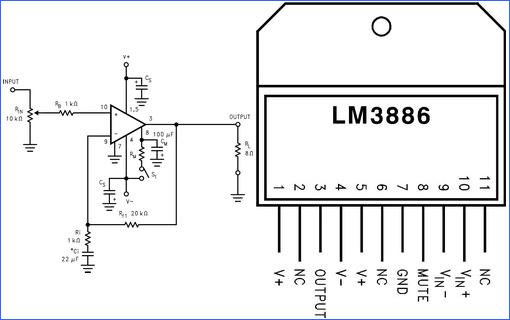 LM3886-cao-hiệu suất 68W-tiếng ồn điện khuếch đại