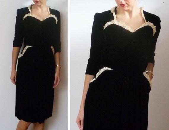 Vintage 30s EBONY and IVORY Silk Velvet Dress