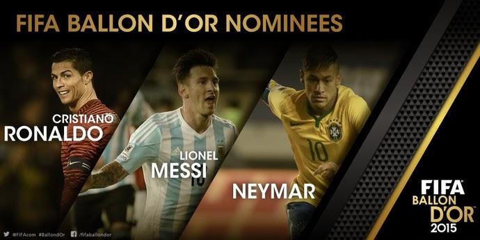 Neymar Messi Cristiano Bola de Ouro (Foto: Reprodução Twitter Fifa)