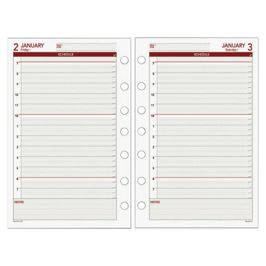 Day Runner Express 7-Hole Punched Calendar Refill - Two Page Per ...