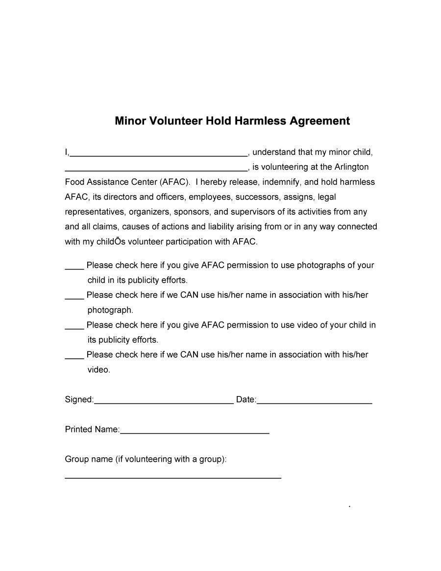 example hold and letter bill Agreement (Free) Templates Free Free Harmless Hold  41