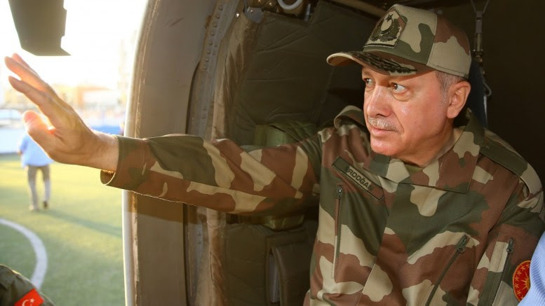 A handout photo made available by the Turkish Presidential Press Office shows Turkish President Recep Tayyip Erdogan waving from a helicopter window during a visit to Turkish troops in Hatay province, southern Turkey, 01 April 2018. Erdogan is visiting Turkish troops engaged in 'Operation Olive Branch', a military operation in Syria's Afrin province against Syrian-Kurdish YPG militia that was a vital ally for the US-led coalition against the Islamic State (IS) militia. EPA, TURKISH PRESIDENTIAL PRESS OFFICE HANDOUT, EDITORIAL USE ONLY