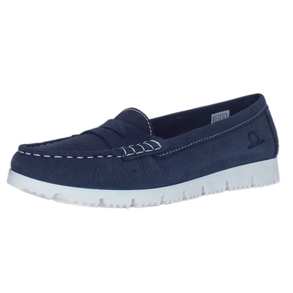 Chatham April Penny Loafers | Women's Loafer Navy Leather ...