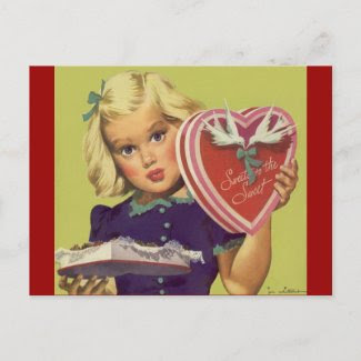 Vintage Valentine's Day; Blonde Girl w Chocolates postcard