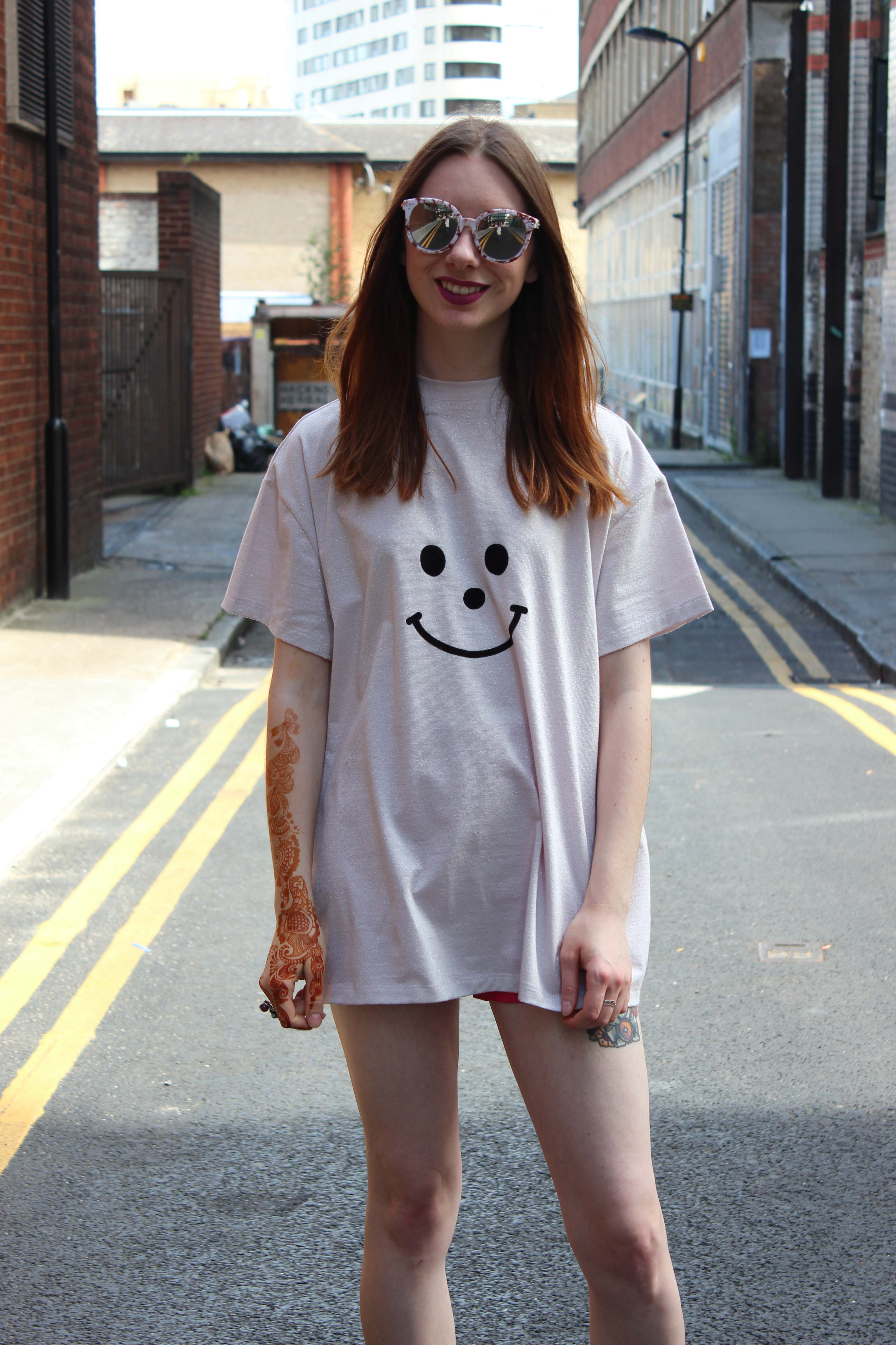 Lazy Oaf glittter smiley face oversized t shirt