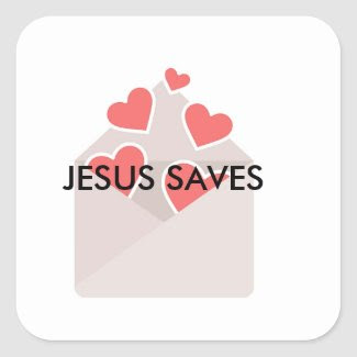 Glossy Jesus Saves Stickers