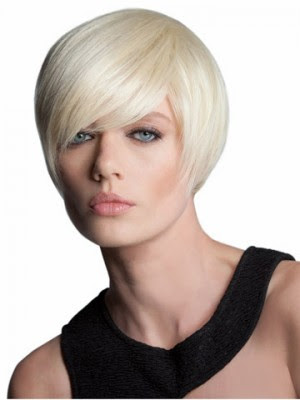 Short Bob With Lightweight Off Set Fringe Short Capless Synthetic
