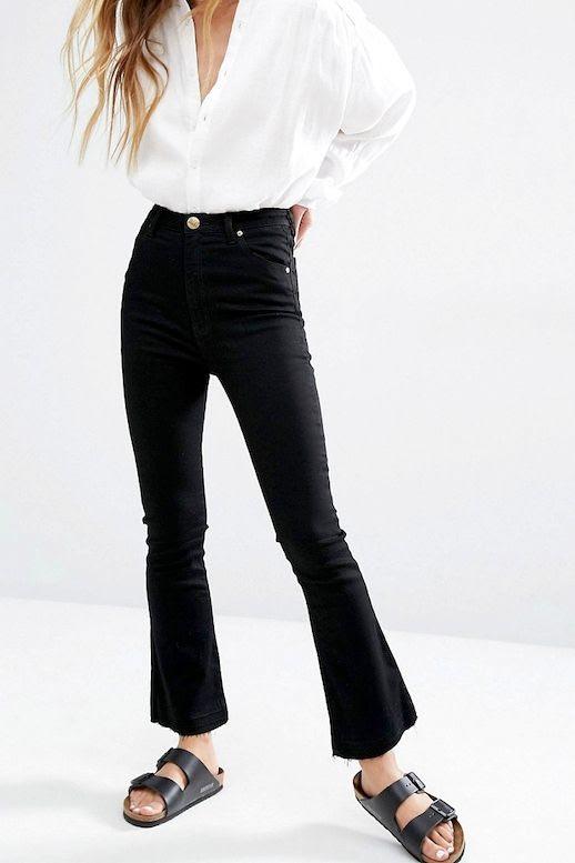 Le Fashion Blog Fall Style Long Blonde Hair White Button Down Top Black Cropped Flared Raw Hem Denim Black Flat Sandals Via Asos
