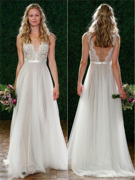 Beautiful Simple Lace Beach Wedding Dresses Front and Back