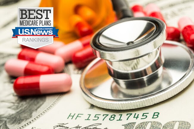 Pills and a stethoscope on top of dollar bills with Best Medicare Plans.