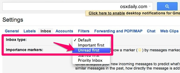 Show unread email first in Gmail