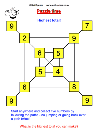 maths puzzle 26 highest total