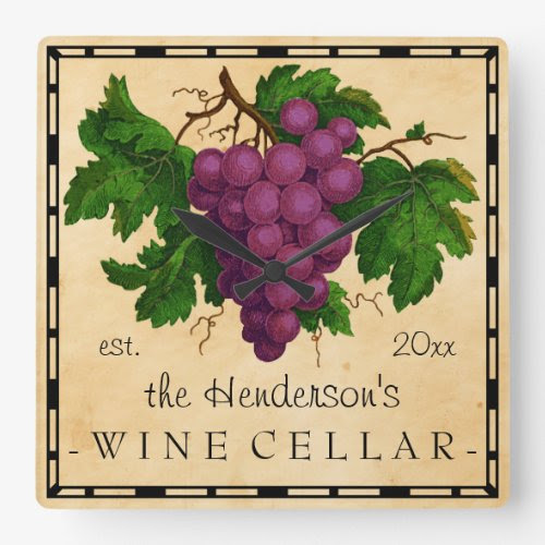 Wine Cellar Vintage Grapes Design Square Wall Clock - Personalized with Any Name