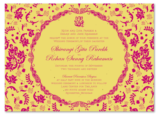 Vintage Hindu white seeded paper invites