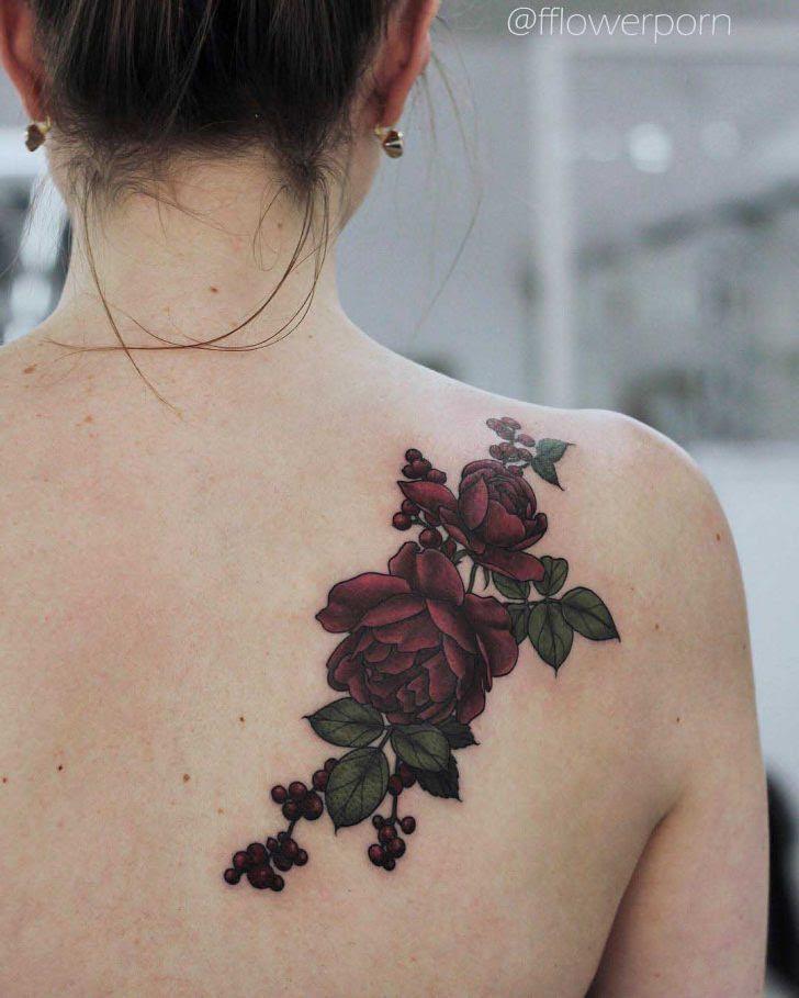 Rose Tattoo On Back Shoulder Best Tattoo Ideas Gallery