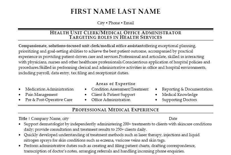 unit clerk resume sample