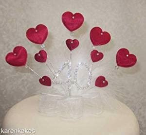40th Birthday or Ruby Wedding Anniversary Cake Topper with