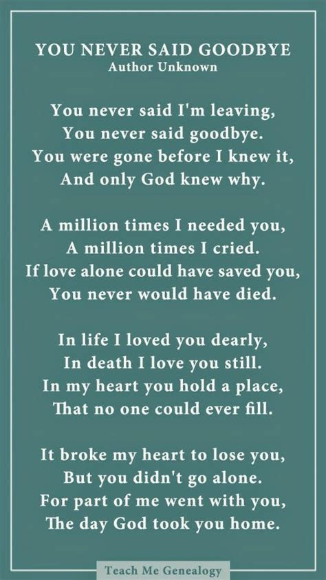 You Never Said Goodbye: A Poem About Losing a Loved One