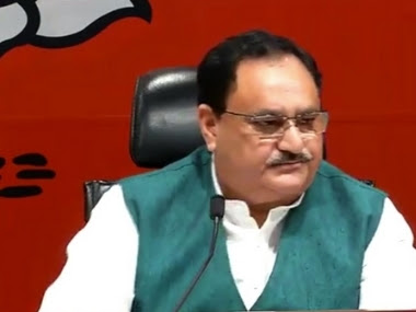 File photo of JP Nadda. Twitter/@BJP4India