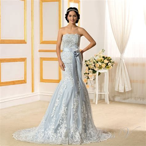2017 Romantic Light Blue Mermaid Wedding Dresses Lace