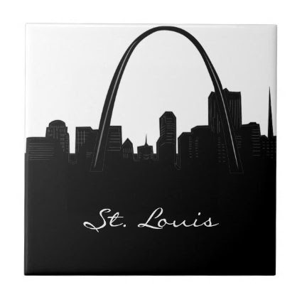 Black and White St. Louis Skyline Small Square Tile