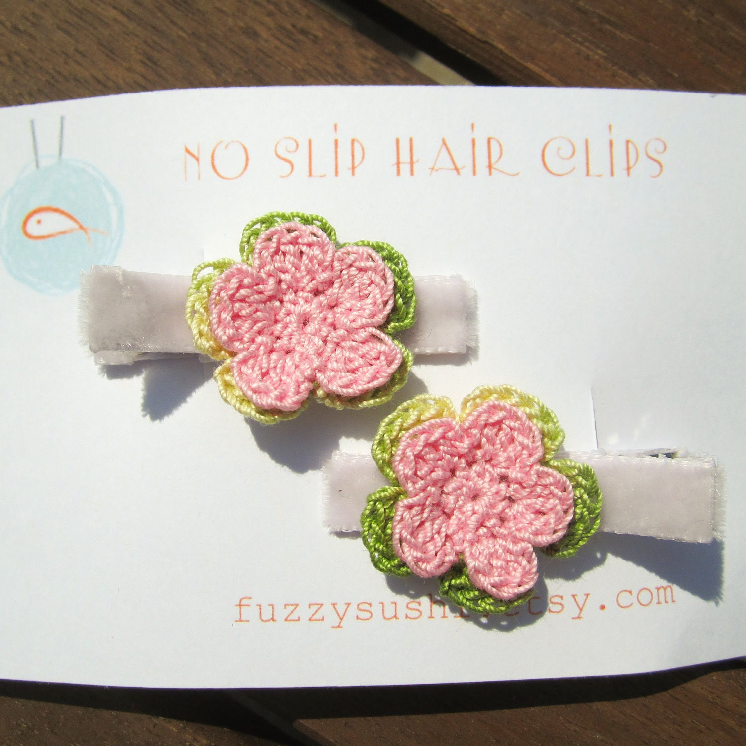 Set of 2 No Slip Velvet Covered Hair Clips With Crochet Flowers in Pink and Green