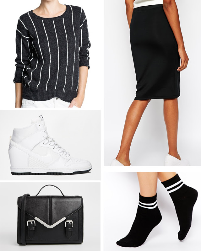 Belgian fashion blogger from belgium / belgische mode blogger. What I'd love to wear. Collage outfit, inspiration, outfit combination, Nike dunk sky high asos, black pencil skirt vila, mango pinstripe jumper sweatshirt, striped high sport socks. street style how to wear sport socks high socks fashionable